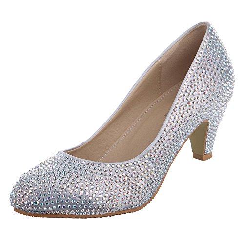 VELCANS Women's Silver Glitzy Rhinestone Wedding and Prom Heels Pumps Shoes (9 B(M) US, Silver High Heel:2.4