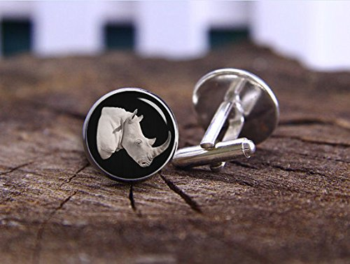 Rhino Cufflinks, Rhinoceros Cufflinks, Custom Animals Cufflink ,Wild Animals, Wildlife Cufflink, Rinoceronte Cufflinks, Wildlife Activists