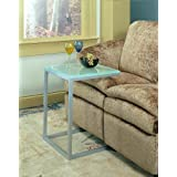 Pewter Glass Top Sofa Table. Contemporary style C Table