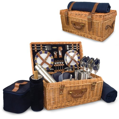 Picnic Time Windsor Classic Willow Picnic Basket With Deluxe Service For 4