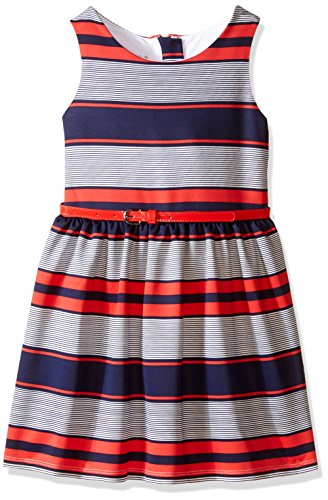 Pippa & Julie Big Girls Striped Knit Fit and Flare Dress, Multi, 10