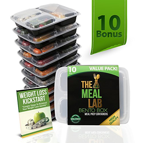[Bonus-Pack] LONGER LASTING 3-Compartment BPA FREE Stackable Meal Prep Food Storage Containers with Lids | Microwave & Dishwasher Safe Bento Lunch Box | Portion Control Plates + FREE Weight Loss eBook (Food Divider compare prices)