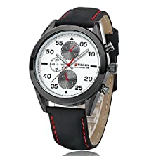 buy Curren Men'S Sport Military Quality Pu Leather Band Analog Quartz Wrist Watch-Black