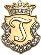 Navika Gold Initial Swarovski Crystal Ball Marker with Matching Royal Crown Hat Clip J