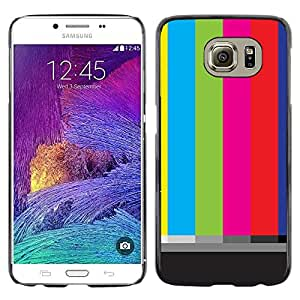 Omega Covers - Snap on Hard Back Case Cover Shell FOR Samsung Galaxy S6 - Old Tv Screen Stripes Art Television Retro