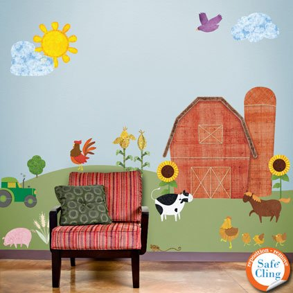 Farm Theme Wall Sticker Kit - Repositionable & Removable Farm Wall Decals For Baby Room front-60499