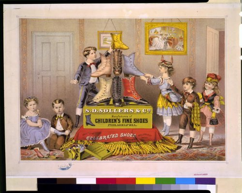 Photo Reprint S.D. Sollers and Co. manufacturers of children's fine shoes, Philadelphia 1874