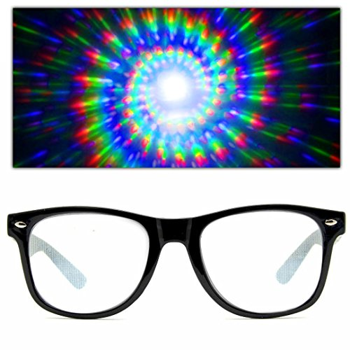 GloFX Spiral Ultimate Diffraction Glasses - Black Rave Prism Grating Glasses Rainbow Firework Spirals