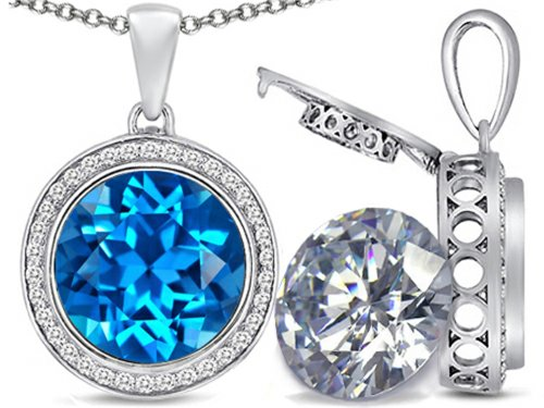 Switch-It Gems 2in1 Round 10mm Simulated Blue-Topaz Pendant Necklace with Simulated White Topaz Include Sterling Silver (Switch Gem Necklace compare prices)