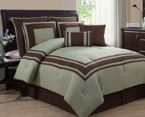 8pc Sgpr Sage Choco Luxury Bedding Set