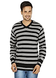 Black Coloured Stripped Mens Sweater by Fizzaro