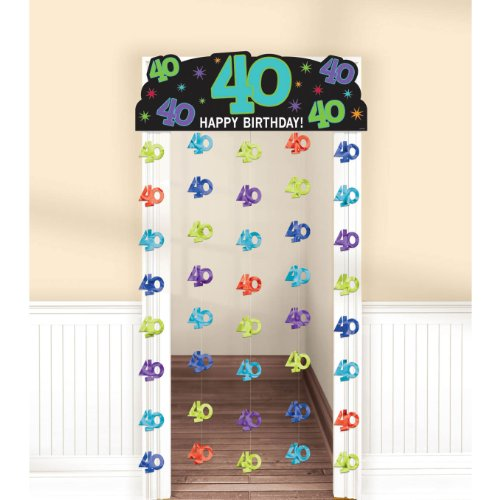"Amscan Charming Doorway Curtain with 40th Celebration Theme, Yellow Green/Cyan Blue/Blue/Violet, 77""x39"""