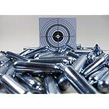 ShoXx.® Set: 25 Softair Marken Co2 Kapseln 12g für Co2 Waffen + 10 ShoXx.® shoot-club Zielscheiben mit zusätzlichen grauen Ring und 250 g/m²