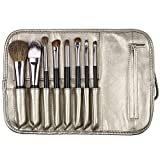 Matto Travel Makeup Brush Set 8-Piece Makeup Brushes with Travel Pouch Bag Including 5 Nature Goat Hairs and 3 Synthetic Fibers Make Up Brushes (Color: Black, Tamaño: Travel 8-Piece)