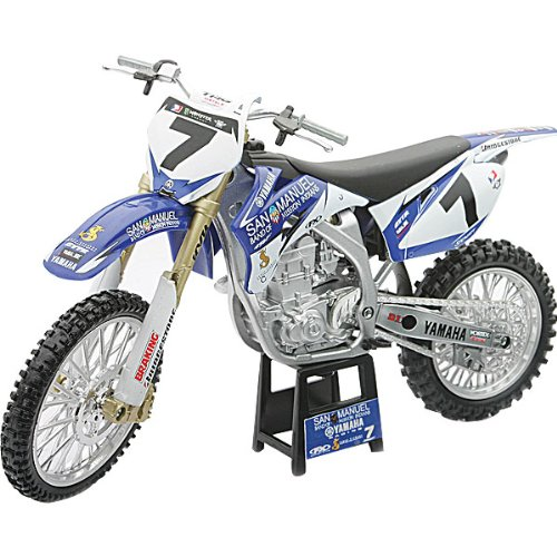 New Ray Yamaha L and M 2009 YZF450F #7 James Stewart Replica Motorcycle Toy - Blue/White/Race Team Graphics / 1:12 Scale