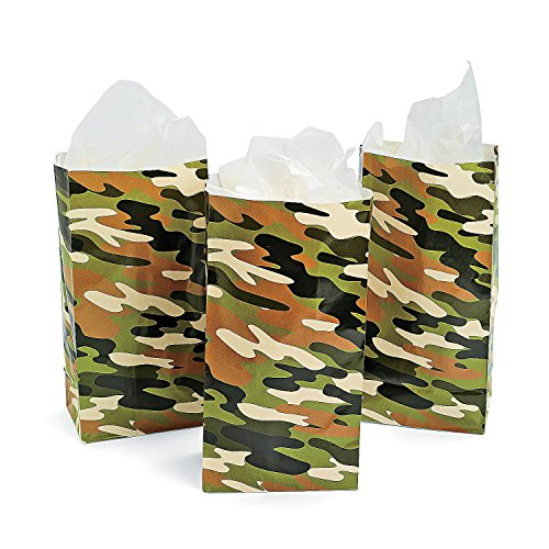 24 Paper Camo Bags - Camouflage Goody Party Favor Treat or Lunch Bags - Bulk Pack (2 Dozen)