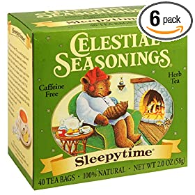Celestial Seasonings Herb Tea, Sleepytime, Tea Bags, 40-Count Boxes (Pack of 6)