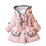 Gaorui Winter Troddler Babys Jacken Kapuzenjacke Mädchenjacke Kapuze Gefüttert Jacket Rot Rosa