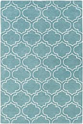 Blue Wool Rug Contemporary 2-Foot 3-Inch x 10-Foot Hand-Made Double Trellis Carpet
