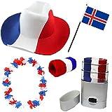 Sonia Originelli Fan Paket Fahne Flagge Schminkstift Cowboyhut Blumenkette Island Iceland blau weiss rot Flag ISL-SET-2