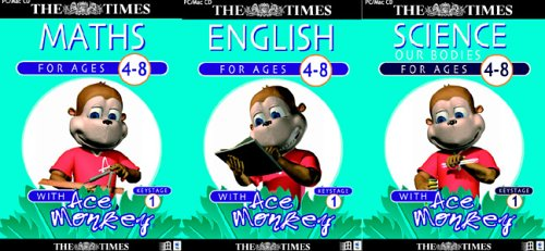 The Times Ace Monkey Key Stage 1 Maths, English, Science Triple Pack (Ages 4-8)