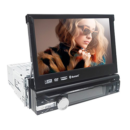 HIZPO-Wince-Universal-Head-unit-Single-Din-Car-Stereo-GPS-sat-nav-DVD-Player-70-inch-In-Dash-support-GPSNaviUSBSDSubwoofer-outputCam-inBluetoothSteering-Wheel-Control-FunctionFMAM-Radio-Stereo-Multime