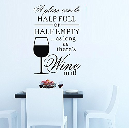 """Colorfulhall 21.65"""" X 14.96"""" Black Wine Glass Bottle Kitchen Wall Quote Lettering Words Wall Decals Sticker Mural Art Kitchen Decoration (A) front-931475"""