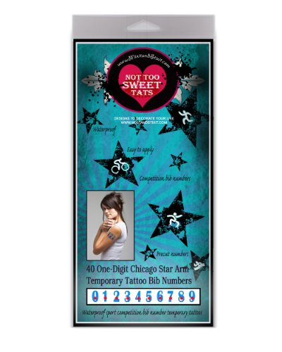 Not Too Sweettats Chicago Star Bib Numbers Arm Temporary Tattoo Pack - 40 1-Digit Number Tattoos Per Pack