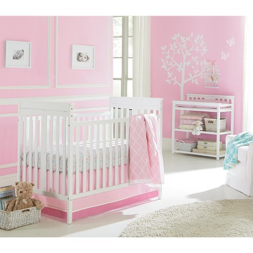 Sadie & Scout 3 Piece Crib Bedding Set Chelsea Pink Comforter Sheet Skirt