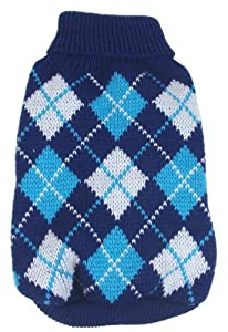Pet Life Argyle Knitted Ribbed Fashion Dog Sweater, Small, Black and Blue