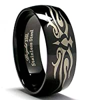Black Stainless Steel Ring with Laser Etched Design size 12