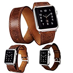 3 in 1 Apple Watch Leather Cuff Band Series 1 Series 2, Lecxci Mens/Womens Retro Genuine Leather [Bracelet/Single/Double Loop Strap] iWatch Band for Apple Watch 2015 & 2016 38mm / 42mm (Coffee 38mm)