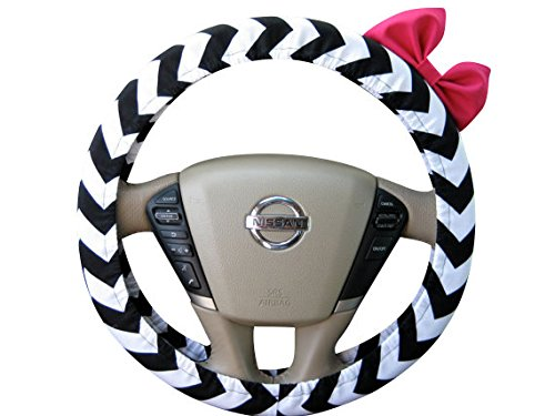 Beau Fleurs BF11080 - Steering Wheel Cover Bow, Black and White Chevron Steering Wheel Cover with Hot Pink Bow, Black Chevron Wheel Cover and Pink Bow (Steering Wheel Cover Pink Bow compare prices)