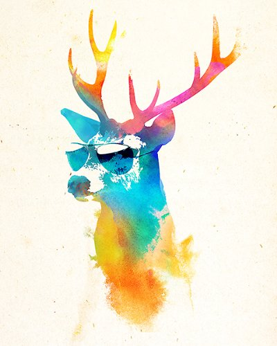 "Sunny Stag by Robert Farkas Art Print Poster """