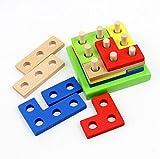 WSS Juguetes educativos de madera geométrica ladrillos ensamblados intelectual para niños