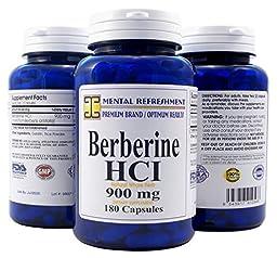 Mental Refreshment: Berberine 900mg, 180 Capsules #1 Best Value