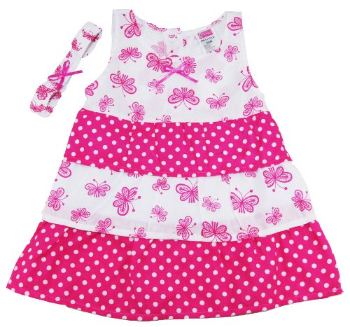 Coney Island Little Girls Spring Pink/White Butterfly Sundress Set back-605942