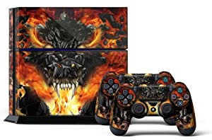 PS4 Console Designer Skin for Sony PlayStation 4 System plus Two(2) Decals for: PS4 Dualshock Controller - Firestorm