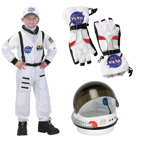 NASA Jr. Astronaut Suit White, Child Costume with Gloves and Helmet, M (8-10)