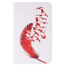 buy Evergreen Samsung Galaxy Tab 3 Lite 7.0 Inch T110 T111 Folio Case Cover Red Feather Leather Flip Card Slots Stand Case With Free Dustproof Plug