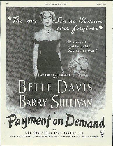 Bette Davis Barry Sullivan In Payment On Demand Movie Ad 1951