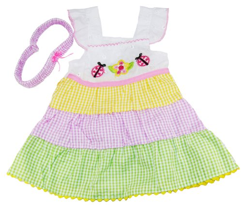 Coney Island Toddler Girls 2-4T Flower And Ladybug Sundress Bloomers And Headband front-784718