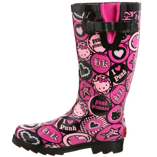 Elegant Add A Pop Of Colour To Your Little Girls Outfit With The Hello Kitty Rain Boots By Zoom These Classic Wellies Boast A Waterproof, Rubber Upper And A Rounded Nose Pink In Colour, The Outer Ankles Display A Printed Graphic Depicting The