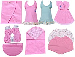 BORN BABY 10 PCS GIFT SET (0 - 6 months) (Baby Girls) (Pink)