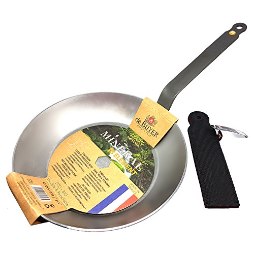 DeBuyer-Mineral-B-Element-Iron-Frypan-102-Inch-Round-with-Neoprene-Handle