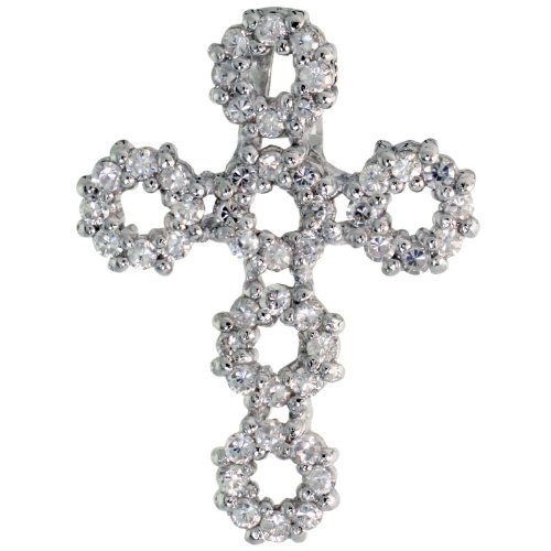 Sterling Silver Circles Cross Slider Pendant w/ Pave CZ Stones, 1 inch (26 mm) tall