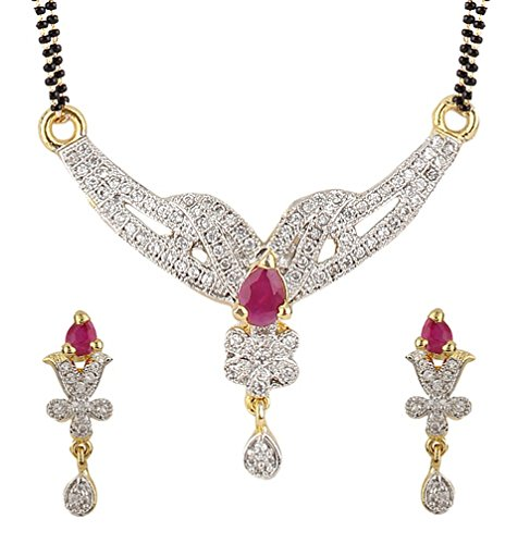 American Diamond Gold Plated Mangalsutra with Chain and Earrings