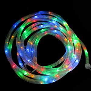 Colored Patio String Lights : Amazon.com : 200 LED Connectable Multi-Color Battery-Operated Outdoor Rope Lights with 8 ...