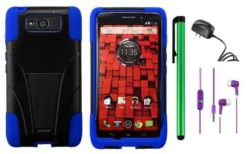 $$  MOTOROLA DROID MAXX XT1080M / Droid Ultra XT-1080 (Verizon) Premium T-Stand Protector Hard Cover Case + Travel (Wall) Charger + 3.5MM Stereo Earphones + 1 of New Metal Stylus Touch Screen Pen (Blue / Black)