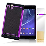 32nd® Shock proof heavy duty protective dual rubber case cover for Sony Xperia T2 Ultra + screen protector, cleaning cloth and touch stylus - Purple